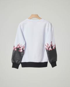 Felpa bianca e nera con logo e fiamme glitter XS