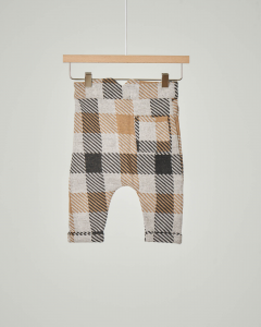 Pantalone beige con quadri color cammello e neri 3-12 mesi
