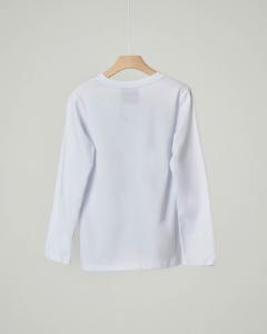T-shirt bianca manica lunga con logo in glitter neri XS-2XL