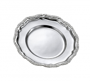 Vassoio tondo da portata in Sheffield placcato argento cm.diam.38