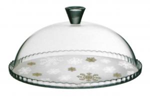 Piatto pasticceria in vetro fiocco bianco e oro con cupola in vetro cm.diam.32
