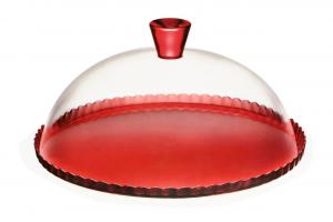 Piatto pasticceria in vetro rosso con cupola in vetro trasparente cm.0x0x0h diam.32