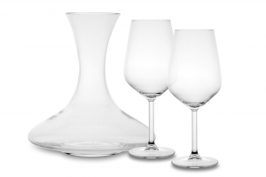 Set 3 pezzi 2 calici e 1 decanter