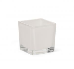 Cubo bianco in vetro cm.6x6x6h