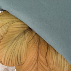 Copripiumino matrimoniale e federe CAMELIA floreale grigio-giallo raso