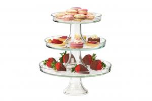 Alzata in vetro per dolci e frutta set 3 pezzi 22 27 32 cm.37h diam.32