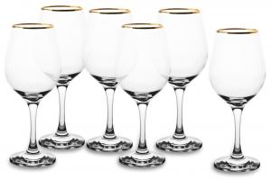 Calici in vetro filo oro confezione 6 pezzi filo oro CL 46 AMBER GOLDEN TOUCH cm.19x28x22,2h