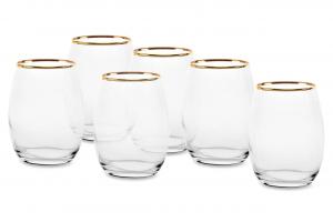 Bicchieri acqua in vetro filo oro confezione 6 pezzi cl 35 AMBER GOLDEN TOUCH cm.21,5h diam.9