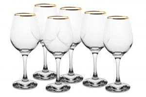 Calici vino in vetro filo oro confezione 6 pezzi cl 36,5 AMBER GOLDEN TOUCH cm.18x26,2x20,5h
