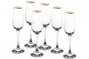 Calici Flute in vetro filo oro confezione 6 pezzi cl 20 AMBER GOLDEN TOUCH cm.22,7h diam.6,2