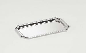 Vassoietto ottagonale placcato argento stile inglese cm.22x12