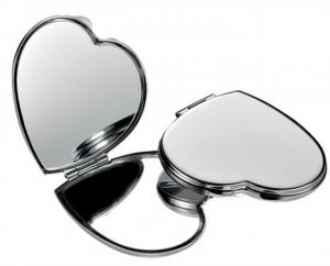 Specchietto cuoricino cromato cm.6,8x5,8x1,5h