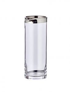 Caraffa in cristallo con bordo filo platino cm.21h diam.7,5