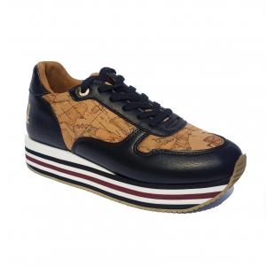 Sneaker nera/geo beige con fondo platform 1a Classe