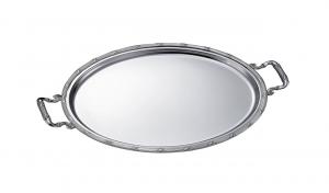 Vassoio ovale placcato argento con manici cm.45x33,5x1,5h