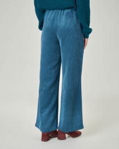 Pantaloni ampi in velluto a coste color ottanio con elastico inserito in vita