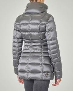 Piumino corto grigio piombo effetto raso linea sfiancata con cappuccio   Pellizzari E commerce