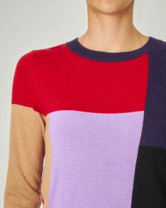 Maglia in misto viscosa e lana a blocchi di colore