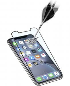 Cellularline Second Glass Ultra Capsule - iPhone XR Vetro temperato ultra resistente da bordo a bordo Nero.Trasparente