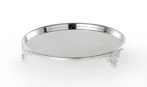 Piatto tondo porta doce con tre piedini placcato argento cm.4,5h diam.20