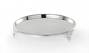 Piatto tondo porta doce con tre piedini placcato argento cm.4,5h diam.24