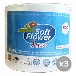 SOFT FLOWER Set 3 X 1 ASCIUG.LOVE 800 Strappi Accessori Per la Cucina