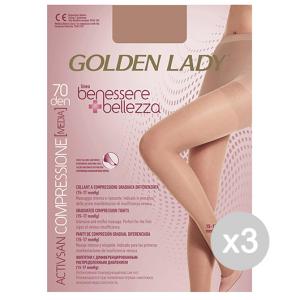 Set 3 GOLDEN LADY Benessere & Bellezza Collant 70 Den Dore Taglia Ii G115 Calze Da Donna