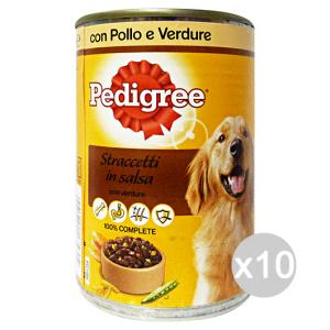 Set 10 PEDIGREE Barattolo 400 gr Umido Salsa Polle verdure Cibo Per Cani