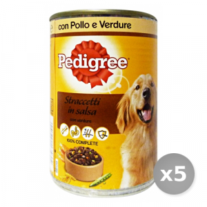 Set 5 PEDIGREE Barattolo 400 gr Umido Salsa Polle Verdure Cibo per Cani