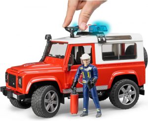 BRUDER Land Rover Defender Station Wagon Pompieri Luci E Suono E Pompiere Mezzo 779