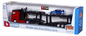 BBURAGO Mercedes Benz Actros 2545 Con Rimorchio Con Auto 1/43 Camion Bisarca 542