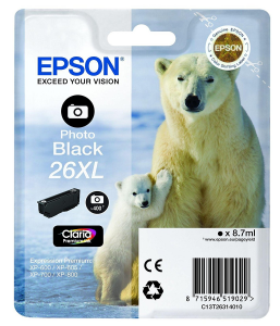 EPSON Cartuccia di inchiostro Nero Photo Claria Premium 26 XL Orso Polare