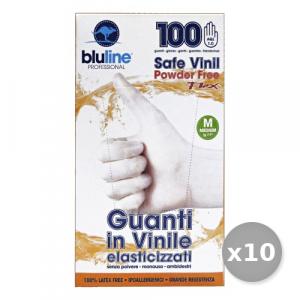 Set 10 Guanti X 100 Vinile FLEX BLULINE m Elasticizzato Giardinaggio