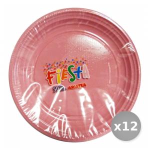 Set 12 Piatti Colorato Dessert 50 Pezzi Rosa Art.155802 Piatti