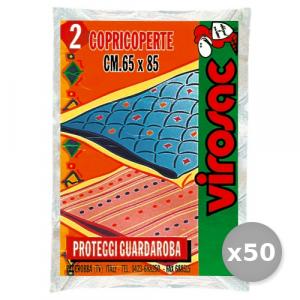 VIROSAC Set 50 CopriCoperte 65x85 Cm X 2 Pezzi Riordino