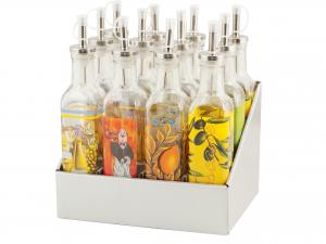 HOME Set 12 Bottiglie Vetro Decorazione Tappo Dosatore 250