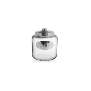 ROYAL NORFOLK Set 3 Biscottiere vetro coperchio acciaio inox Contenitore