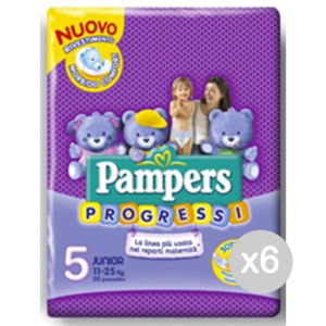 Set 6 PAMPERS Progressi 5 Junior 11/25Kg X20 Igiene E Cura Del Bambino