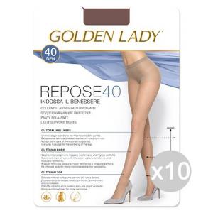 Set 10 GOLDEN LADY Repose 40 Visone 2 Calze Collant Da Donna Abbigliamento E Accessori