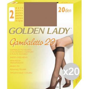 Set 20 GOLDEN LADY Gambaletto Daino X2 Filanca 20 Den Calza Da Donna Accessorio Moda