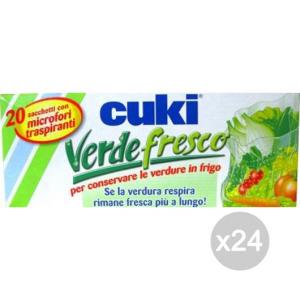 Set 24 CUKI Sacchi Verde Fresco X20 Microforati29X42 Contenitore Per Alimenti