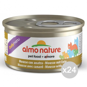 Set 24 ALMO NATURE Gatto 156 Lattina Gr 85 Anatra Mousse Cibo Per Gatti