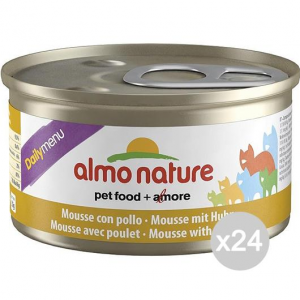 Set 24 ALMO NATURE Gatto 153 Lattina 85 Pollo Mousse Cibo Per Gatti