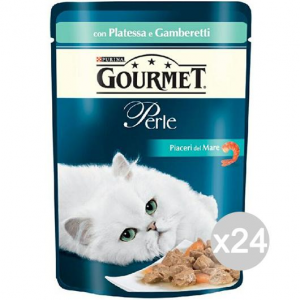 Set 24 PURINA Gourmet Perle Platessa Gamberet Busta Gr85 Cibo Per Gatti