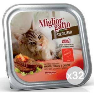 Set 32 MIGLIOR GATTO Vaschetta Steriliz. Manzo Gr 100 Cibo Per Gatti