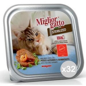 Set 32 MIGLIOR GATTO Vaschetta Steriliz. Pesce Gr 100 Cibo Per Gatti