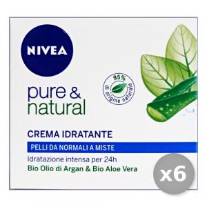 NIVEA Set 6 Pure&Natural Idratante Pelli Normali -Miste 50 ml 81184 Cura Del Viso