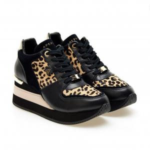 Sneaker nera/animalier Apepazza