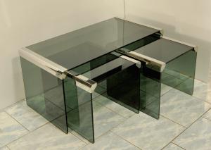 Trittico tavolini da caffè acciaio