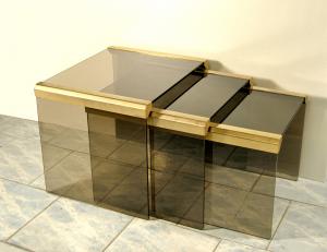 Trittico tavolini da caffè ottone